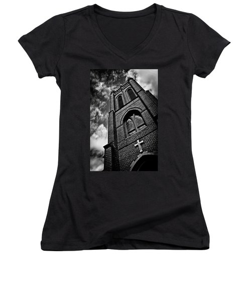 Strong Tower Women's V-Neck T-Shirt (Junior Cut) by Jessica Brawley