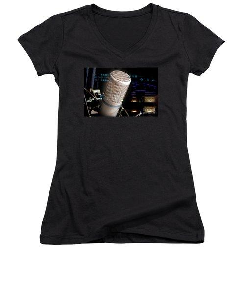 Women's V-Neck T-Shirt (Junior Cut) featuring the photograph Studio Microphone And Recording Gear by Gunter Nezhoda