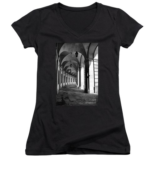 Women's V-Neck T-Shirt (Junior Cut) featuring the photograph Study In Black And White by John S