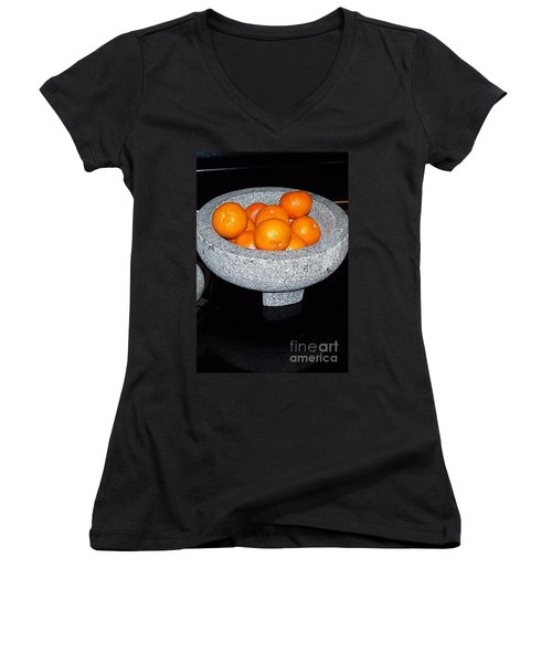 Study In Orange And Grey Women's V-Neck T-Shirt (Junior Cut) by Susan Williams