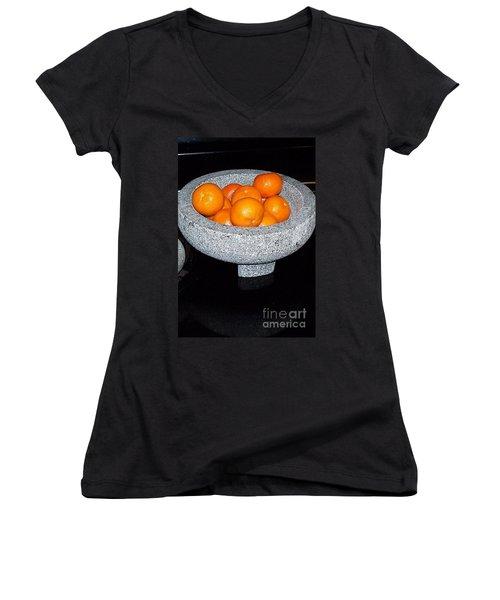 Study In Orange And Grey Women's V-Neck T-Shirt