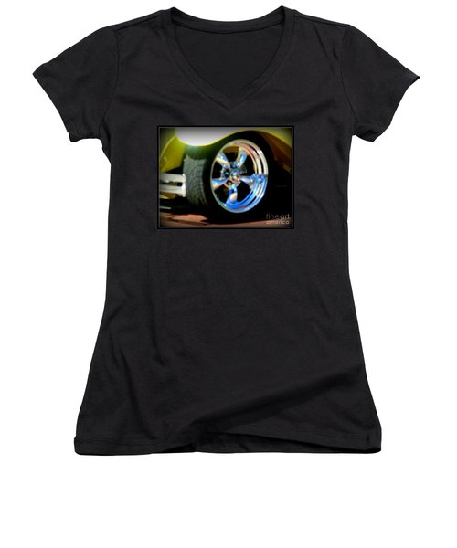 Women's V-Neck T-Shirt (Junior Cut) featuring the photograph Stylin' Wheels by Bobbee Rickard