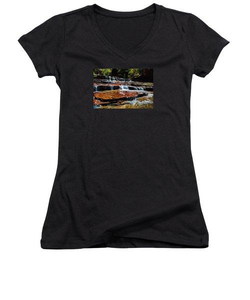 Subway Falls Women's V-Neck T-Shirt (Junior Cut) by Chad Dutson