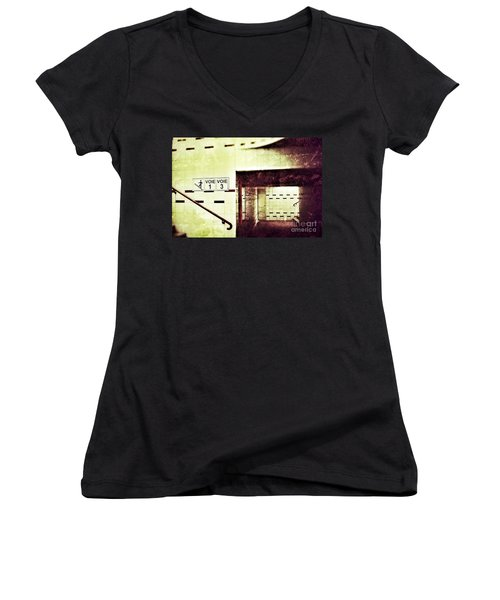 Women's V-Neck T-Shirt (Junior Cut) featuring the photograph Subway  by Nick  Biemans