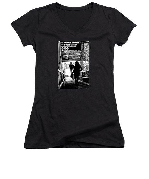 Subway Shadows Women's V-Neck T-Shirt (Junior Cut) by Karol Livote