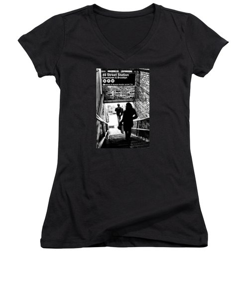Subway Shadows Women's V-Neck (Athletic Fit)