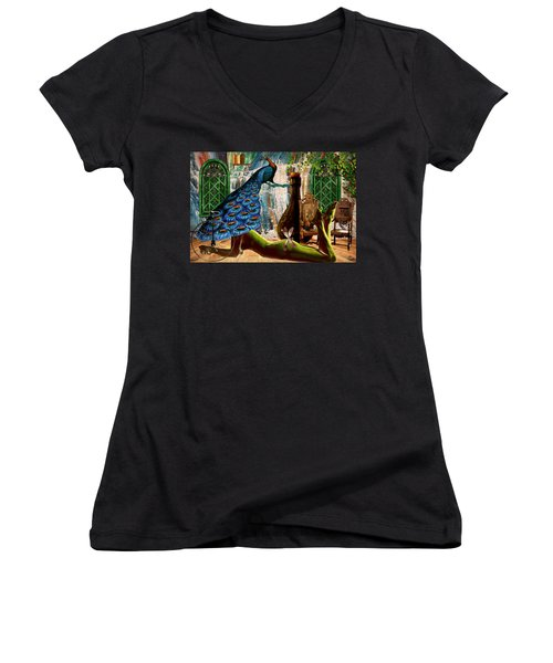 Women's V-Neck T-Shirt (Junior Cut) featuring the painting Suck My Peacock by Ally  White