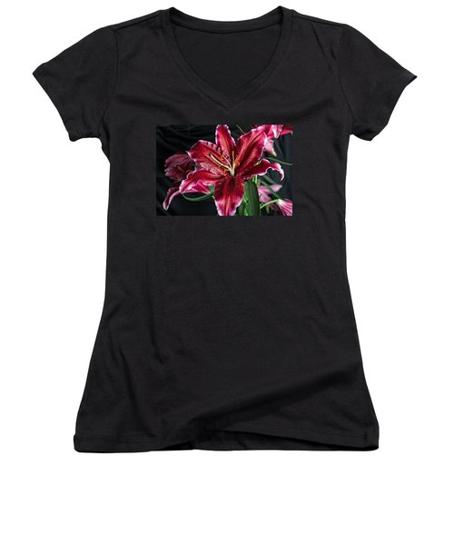 Sumatran Lily Women's V-Neck T-Shirt (Junior Cut) by Dave Files