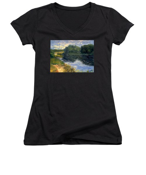 Women's V-Neck T-Shirt (Junior Cut) featuring the painting Summer At Jackson Lake by Gail Kirtz