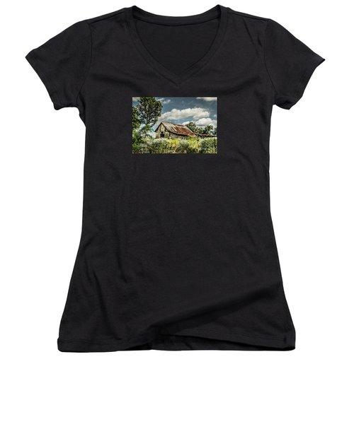 Women's V-Neck T-Shirt (Junior Cut) featuring the photograph Summer Barn by Debbie Green