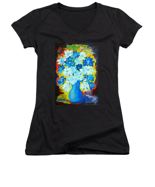 Summer Daisies Women's V-Neck T-Shirt (Junior Cut) by Ramona Matei