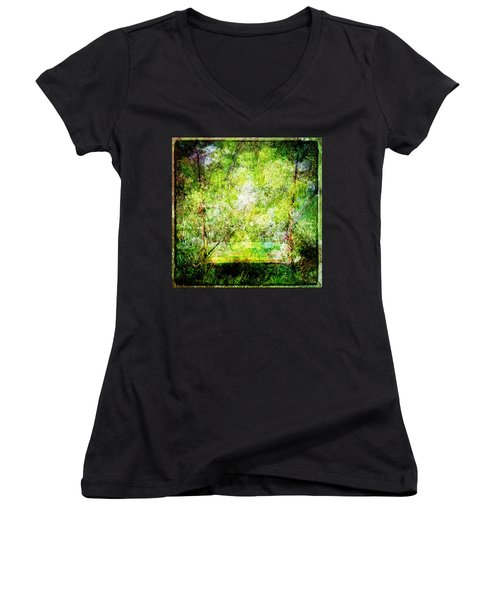 Women's V-Neck T-Shirt (Junior Cut) featuring the mixed media Summer Days Of Yore #1 by Sandy MacGowan