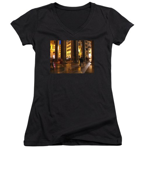 Summer Evening In Rome Women's V-Neck T-Shirt (Junior Cut)