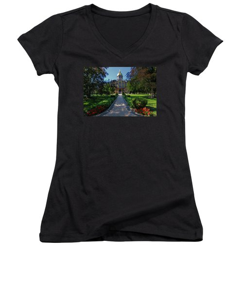 Women's V-Neck featuring the photograph Summer On Notre Dame Campus by Dan Sproul