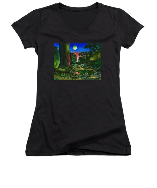 Summer Twilight In The Forest Women's V-Neck (Athletic Fit)
