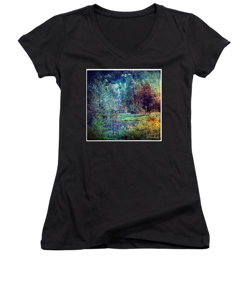 Summertime In Vail Women's V-Neck T-Shirt (Junior Cut) by Madeline Ellis