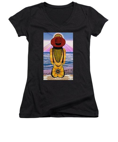 Sun Girl's Back Women's V-Neck T-Shirt (Junior Cut) by Joseph J Stevens