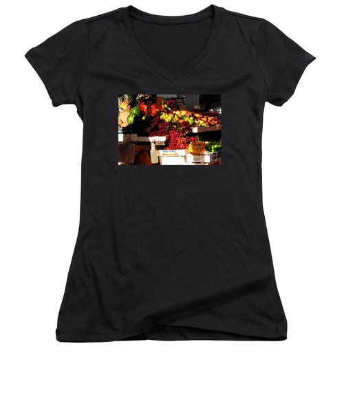 Women's V-Neck T-Shirt (Junior Cut) featuring the photograph Sun On Fruit Close Up by Miriam Danar