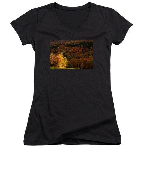 Sun Peeking Through Women's V-Neck T-Shirt (Junior Cut) by Jeff Folger