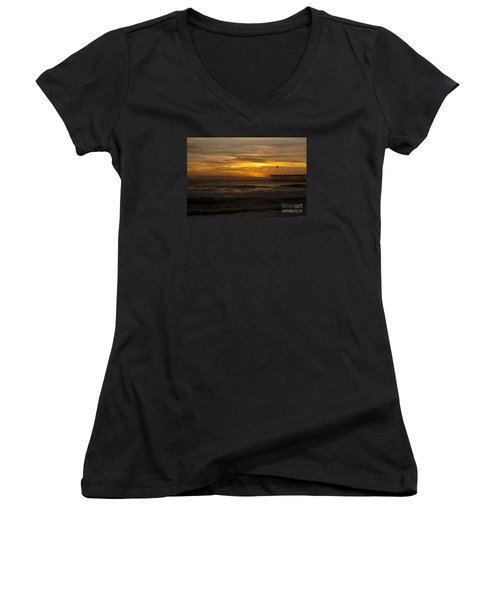 Sun Setting Behind Santa Cruz With Ventura Pier 01-10-2010 Women's V-Neck T-Shirt (Junior Cut) by Ian Donley