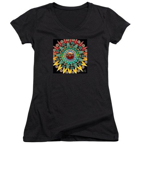 Sun Shaman Women's V-Neck T-Shirt (Junior Cut) by Christopher Beikmann