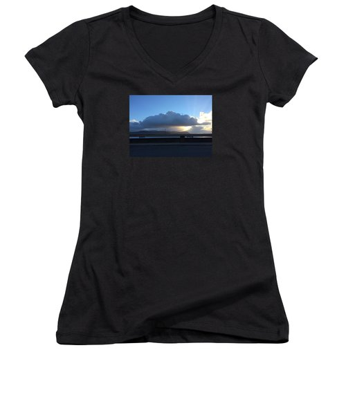 Sunbeams Over Conwy Women's V-Neck T-Shirt (Junior Cut) by Christopher Rowlands