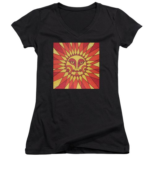 Women's V-Neck T-Shirt (Junior Cut) featuring the painting Sunburst by Susie Weber