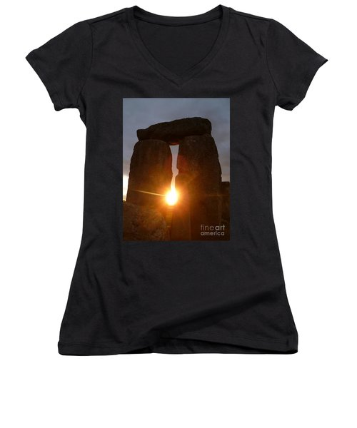 Women's V-Neck T-Shirt (Junior Cut) featuring the photograph Sunburst by Vicki Spindler