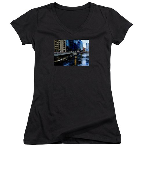 Sunday Morning In January- Chicago Women's V-Neck T-Shirt (Junior Cut) by Raymond Perez