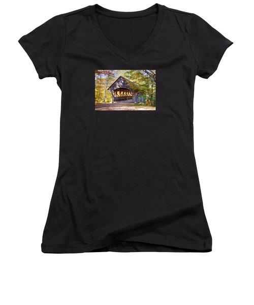 Sunday River Covered Bridge Women's V-Neck T-Shirt (Junior Cut) by Jeff Folger