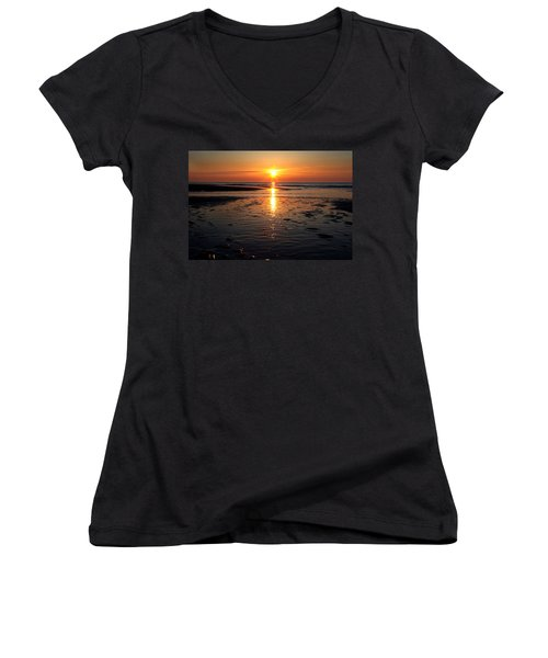 Sundown At The North Sea Women's V-Neck
