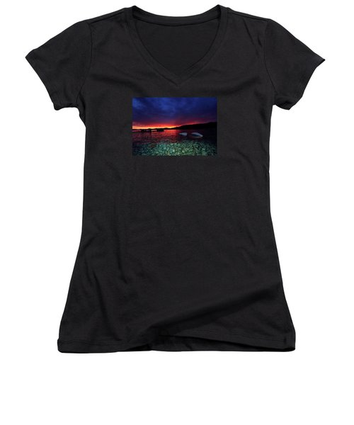Women's V-Neck T-Shirt (Junior Cut) featuring the photograph Sundown In Lake Tahoe by Sean Sarsfield