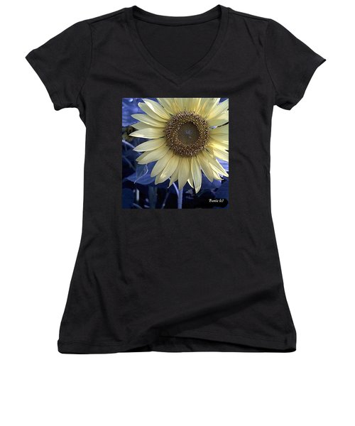 Sunflower Blues Women's V-Neck T-Shirt (Junior Cut)