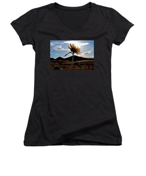 Women's V-Neck T-Shirt (Junior Cut) featuring the photograph Sunflower In The Sun by Matt Harang