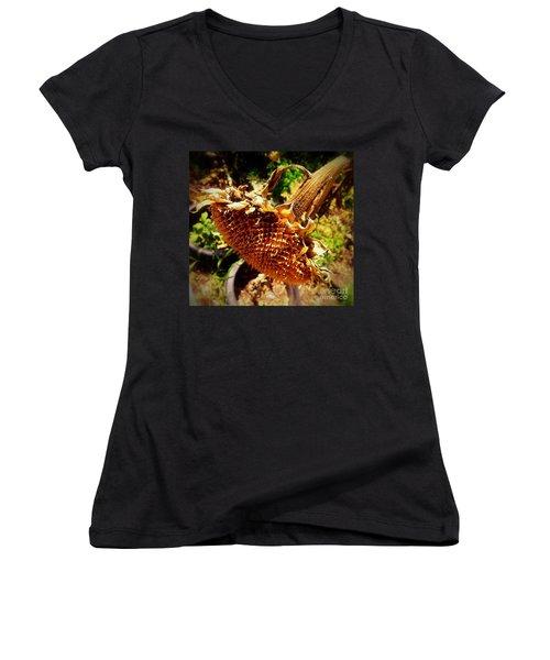 Women's V-Neck T-Shirt (Junior Cut) featuring the photograph Sunflower Seedless 1 by James Aiken