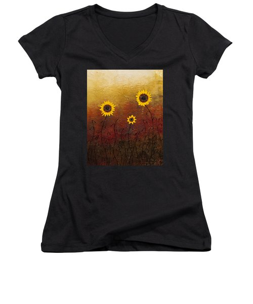 Sunflowers 2 Women's V-Neck (Athletic Fit)