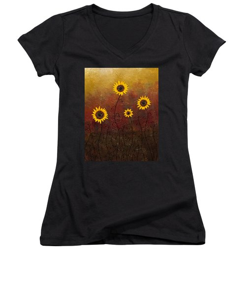 Sunflowers 3 Women's V-Neck (Athletic Fit)