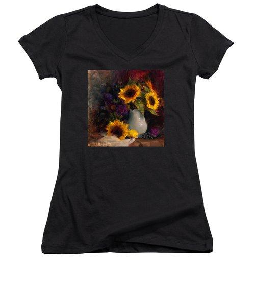 Sunflowers And Porcelain Still Life Women's V-Neck