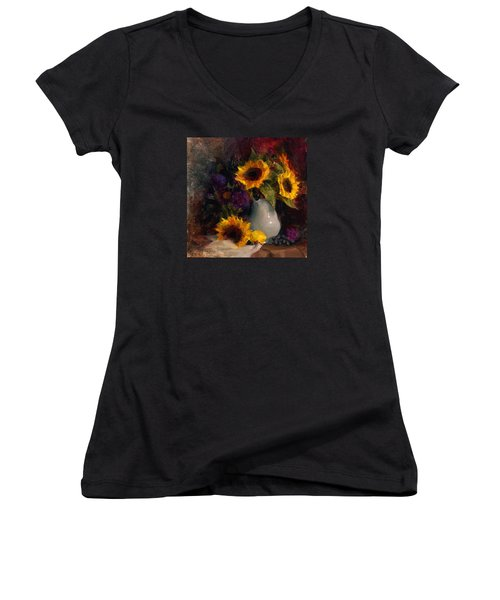 Sunflowers And Porcelain Still Life Women's V-Neck