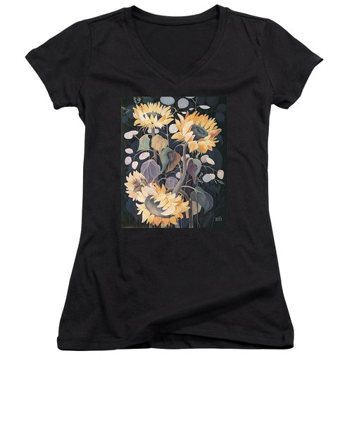 Women's V-Neck T-Shirt (Junior Cut) featuring the painting Sunflowers' Symphony by Marina Gnetetsky