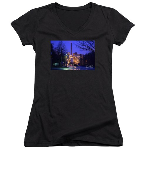 Sunila Pulp Mill By Rainy Night Women's V-Neck (Athletic Fit)