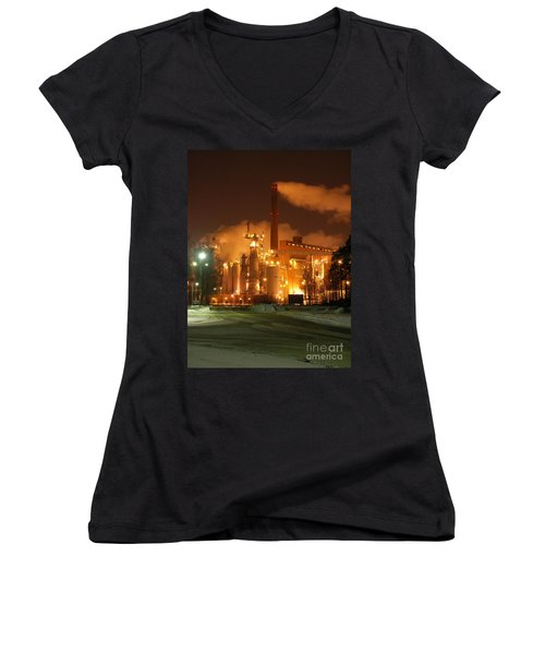 Sunila Pulp Mill By Winter Night Women's V-Neck (Athletic Fit)