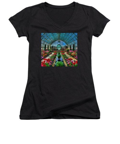 Sunken Garden Marjorie Mc Neely Conservatory Women's V-Neck T-Shirt