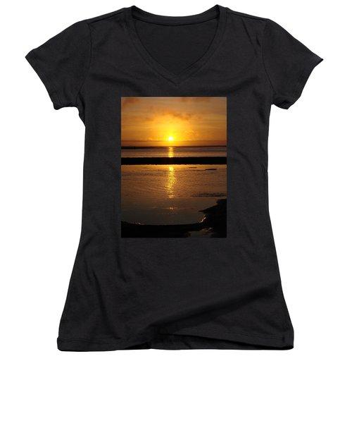 Women's V-Neck T-Shirt (Junior Cut) featuring the photograph Sunkist Sunset by Athena Mckinzie