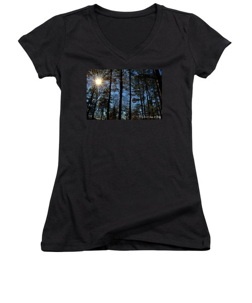 Women's V-Neck T-Shirt (Junior Cut) featuring the photograph Sunlight Through Trees by Tara Potts