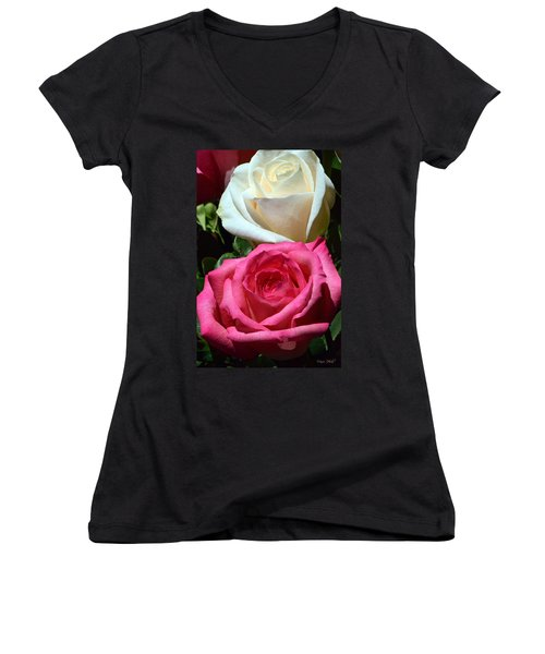 Sunlit Roses Women's V-Neck T-Shirt (Junior Cut) by Marie Hicks