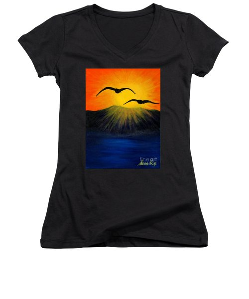 Women's V-Neck T-Shirt (Junior Cut) featuring the painting Sunrise And Two Seagulls by Oksana Semenchenko