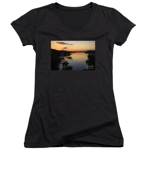 Sunrise At Lake Of The Ozarks Women's V-Neck T-Shirt (Junior Cut) by Dennis Hedberg