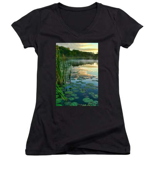 Sunrise At Pokagon State Park  Women's V-Neck (Athletic Fit)