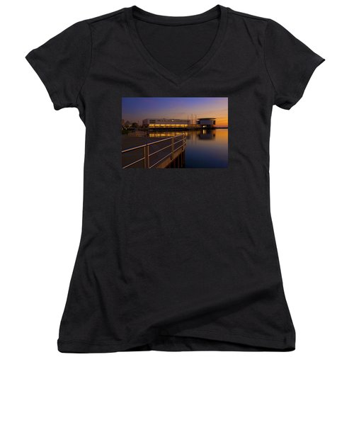 Women's V-Neck T-Shirt (Junior Cut) featuring the photograph Sunrise At The Lakefront by Jonah  Anderson